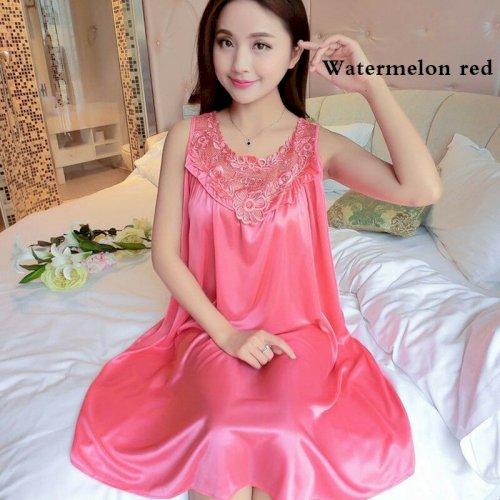 Women Loose Silk Satin Robe Dress Nightdress Sleepwear Nightwear Night Gown